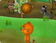 كرة طائرة الكلب و القطة